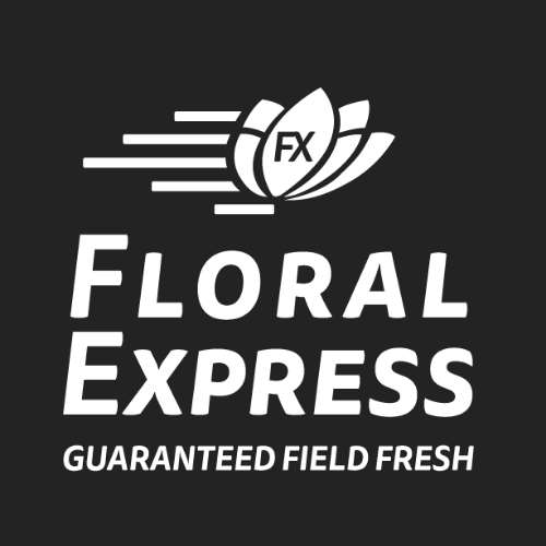 Floral Express, Guaranteed Field Fresh - logo black and white